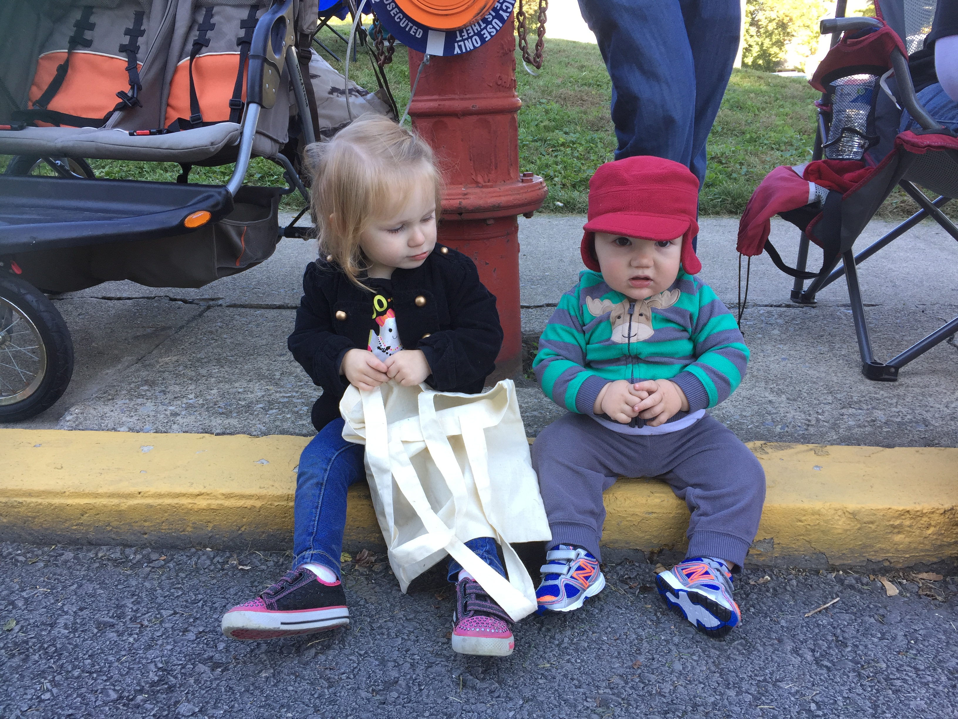 waiting to catch candy at the Halloween Parade