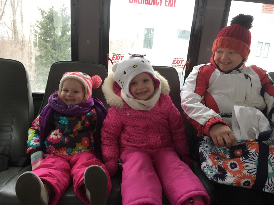 on the bus to go skiing